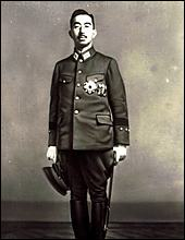 Emperor Hirohito. Another photo used for a military postcard in Japan.