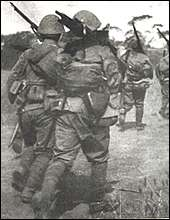 Japanese troops heading toward Nanking.
