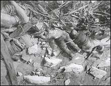 Unburied bodies along the Yangtze. Photo taken by Murase.