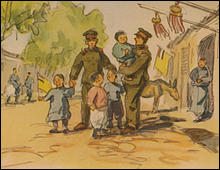 A Japanese military postcard. Soldiers playing with Chinese children.