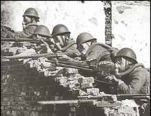Close combat in the city of Shanghai. Photo used by P. R. Dept. of the China Expeditionary Force of Japan.