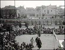 Chinese refugees gathering near the headquarters of the International Committee for the Nanking Safety Zone.